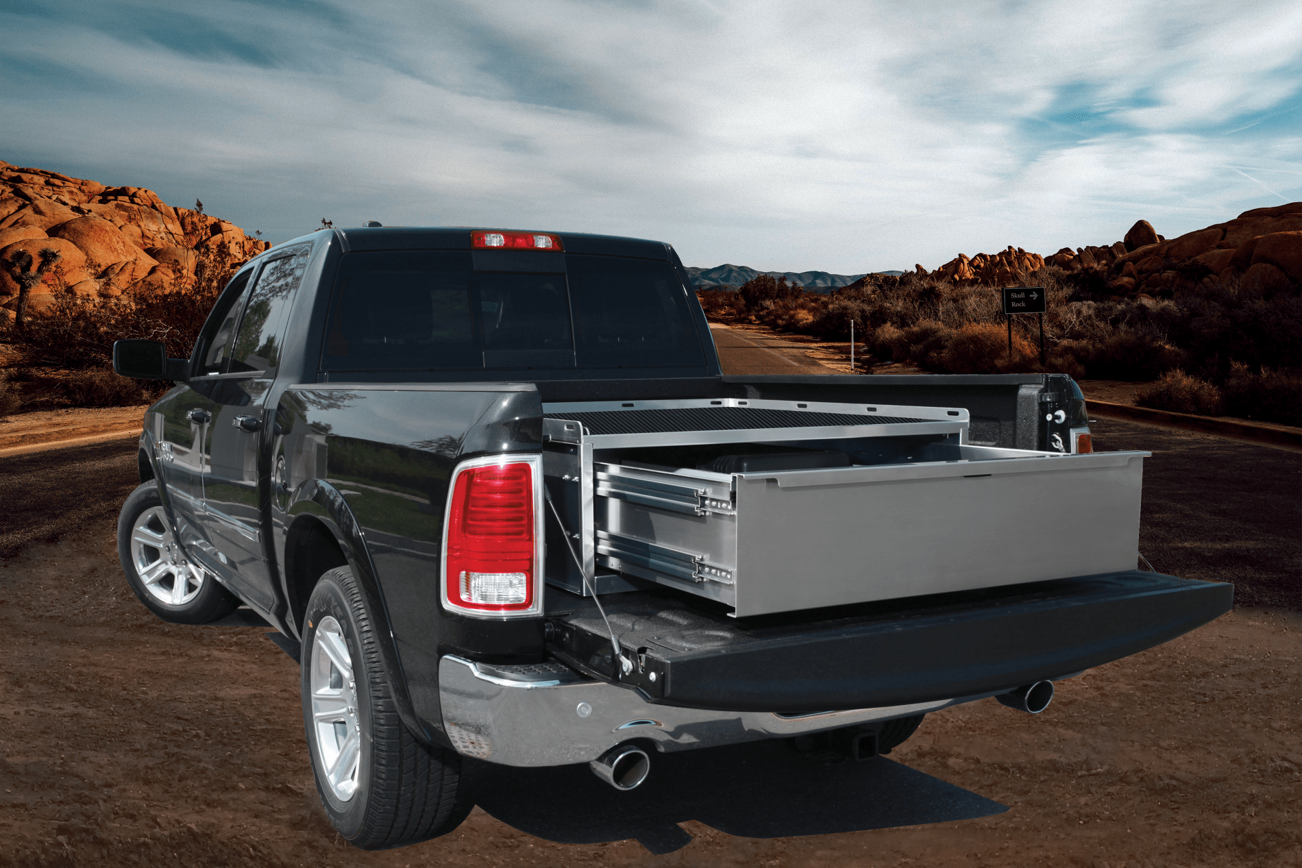 Storage drawer on pickup truck